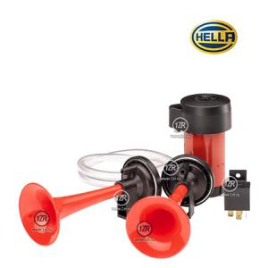 Звуковой сигнал Hella трёхрожковый с компрессором, 12V, 840Hz